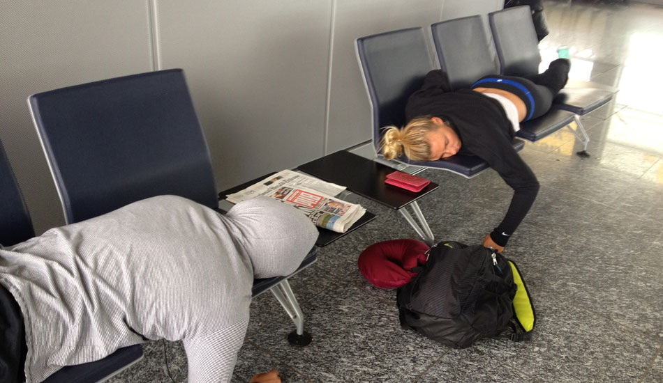 Traveling gets tiring after a while. This year I slept in a lot of airports. This is Aaron and I on our way to France. Out cold.