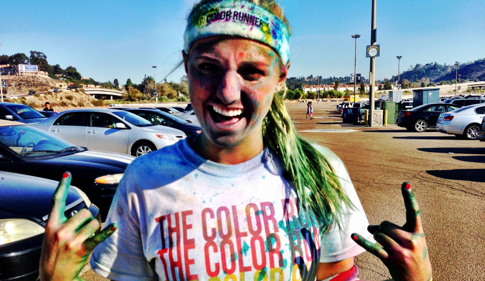 "This was at the Color Run earlier this year. It is just a 5k run, but its SO much fun. as you run, everyone has huge bags of color that we throw all over each other. As you can see here, I got pretty color bombed. Photo: <a href=""http://www.liebervision.com/\"" target=_blank>Aaron Lieber</a>"