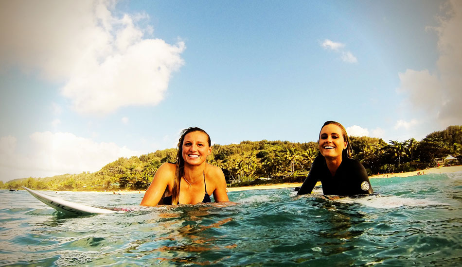 "All the girls on Tour are super fun and sweet to hang with. This Alana Blanchard and I in Hawaii. Photo: <a href=""http://www.liebervision.com/\"" target=_blank>Aaron Lieber</a>"