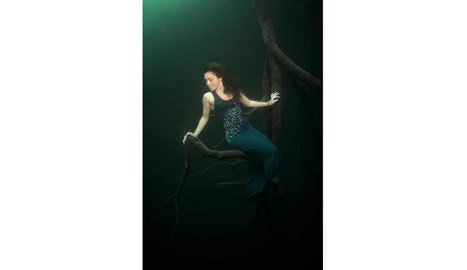"""Resting in a convenient tree to do her safety stop in Angelita cenote. Photo: <a href=\""""http://liabarrettphotography.com/\"""" target=_blank>Lia Barrett</a>"""