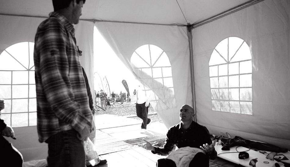 "Mike Parsons and Kelly Slater argue over a wave score in Spain, 2009. Photo: <a href=""http://www.luciagriggi.com\"" target=\""_blank\"">Lucia Griggi</a>"