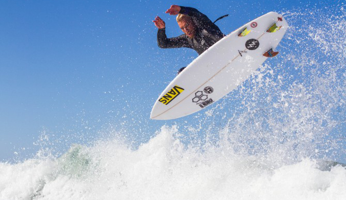 Tanner Gudauskas taking flight just before the US Open of Surfing.