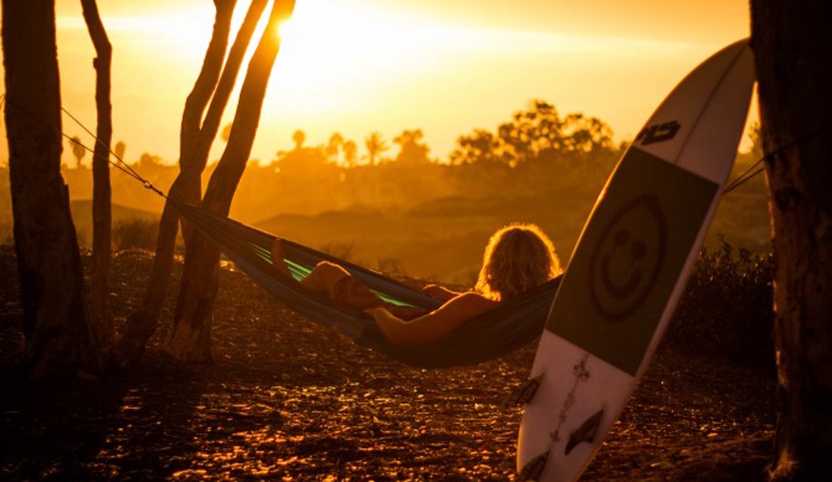 Aaron Neil reminiscing on the session he just had with a good sunset.