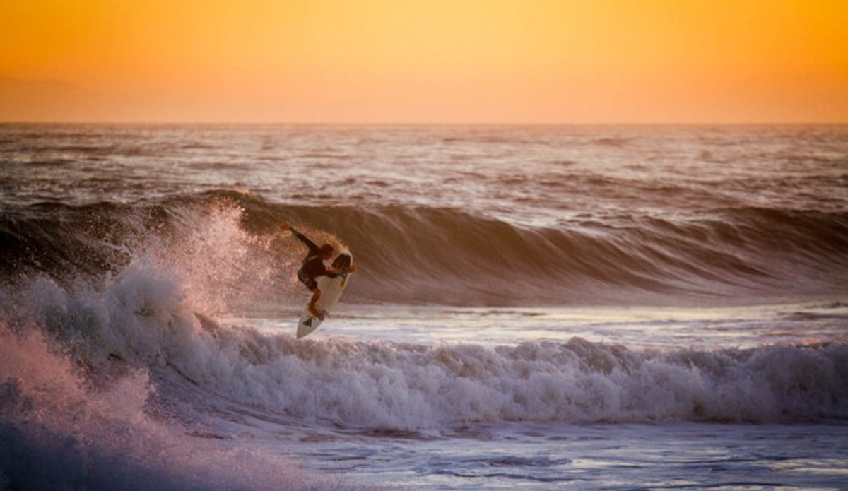 Bobby Okvist finding an air section at a notorious barreling wave.
