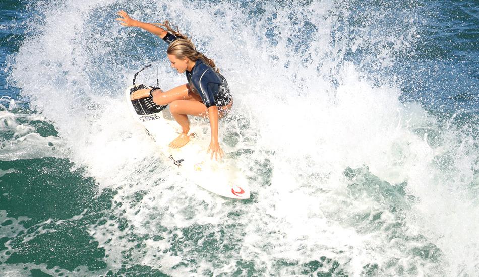 "Alana, fins out on Kaua\'i. Photo: <a href=\""http://www.mikecoots.com\"">Mike Coots</a>"