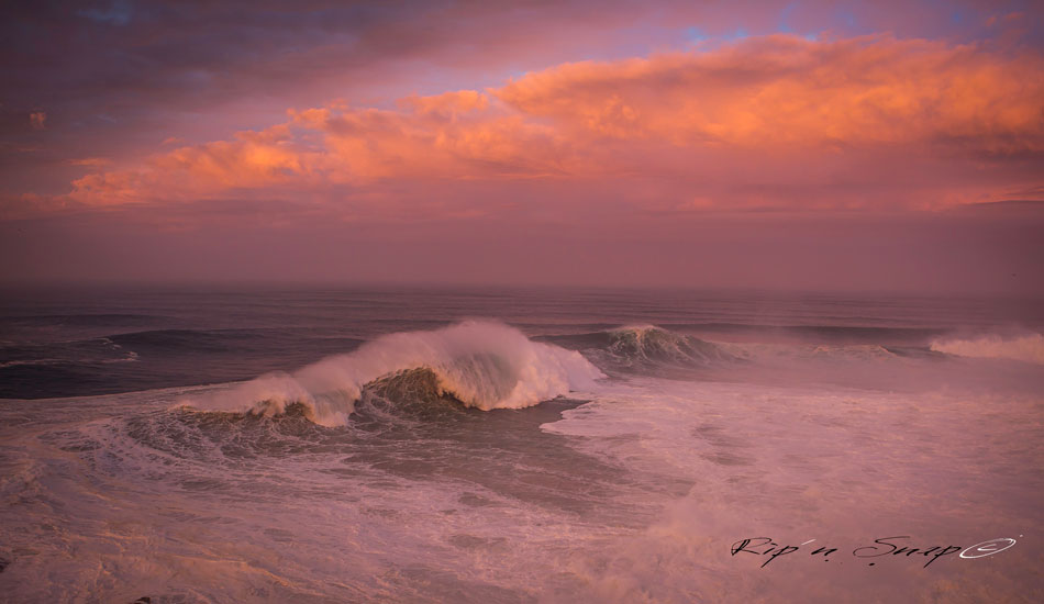 "Early morning light at Nazaré. Photo: <a href=""https://www.facebook.com/ripandsnap\"" target=_blank>Mark Wengler</a>"