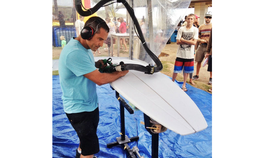 """<a href=\""""http://instagram.com/kazumasurfboards\"""">@kazumasurfboards</a> showing the kids what goes into the boards they ride. A first but not a last for this event #beachshapeshack  #MenehuneMayhem #IWMM"""" — Awesome · Head+++ (8ft+) · Glassy · Full. Photo: <a href=\""""http://goflow.me/\""""> Ian Walsh/goFlow</a>"""