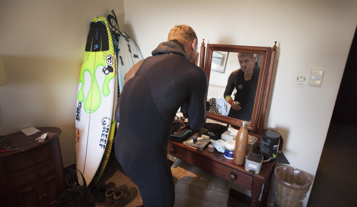 ""\""""That's at J-Bay last year. I'm always trying to get inside to shoot people's environments. That's just him in his room at J-Bay right at the point, preparing to surf. I love it because it's super intimate."""" Photo: <a href=""""http://t-sherms.com/"""" target=""""_blank"""">Steve Sherman</a>""1199|695|?|en|2|2c431352f542756323a77ef36a9b75d2|False|UNLIKELY|0.3547208905220032