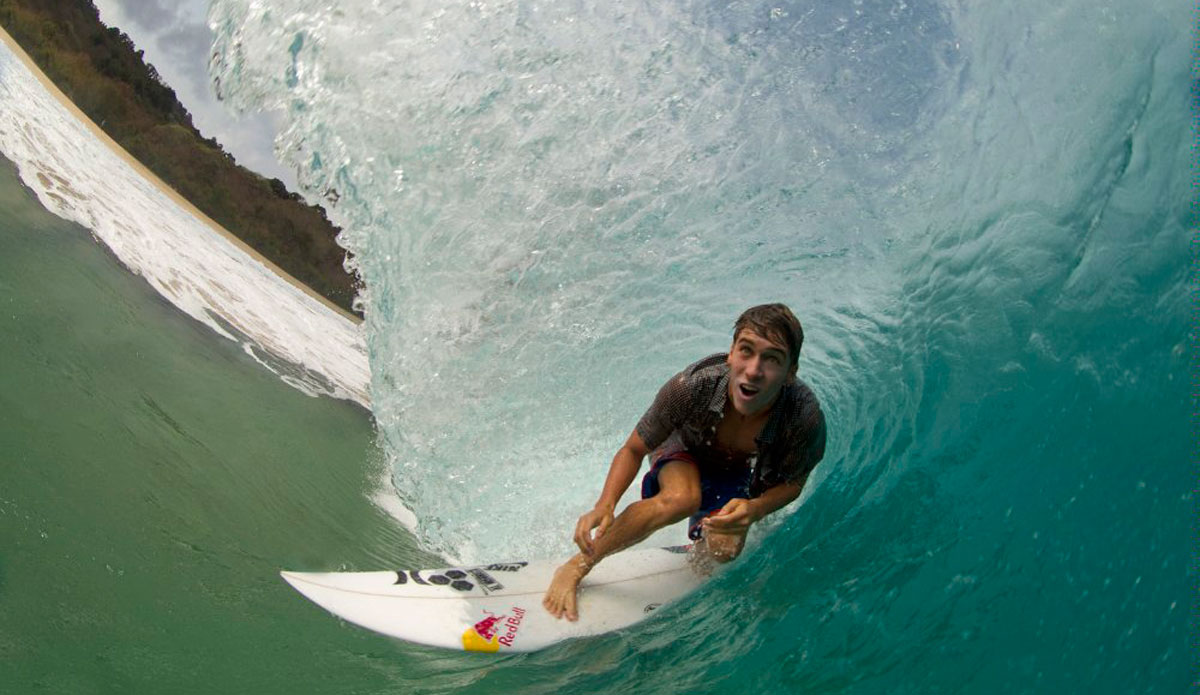 "2. Gotta get really barreled. Photo: <a href=""http://www.redbull.com/\""> Red Bull</a>"