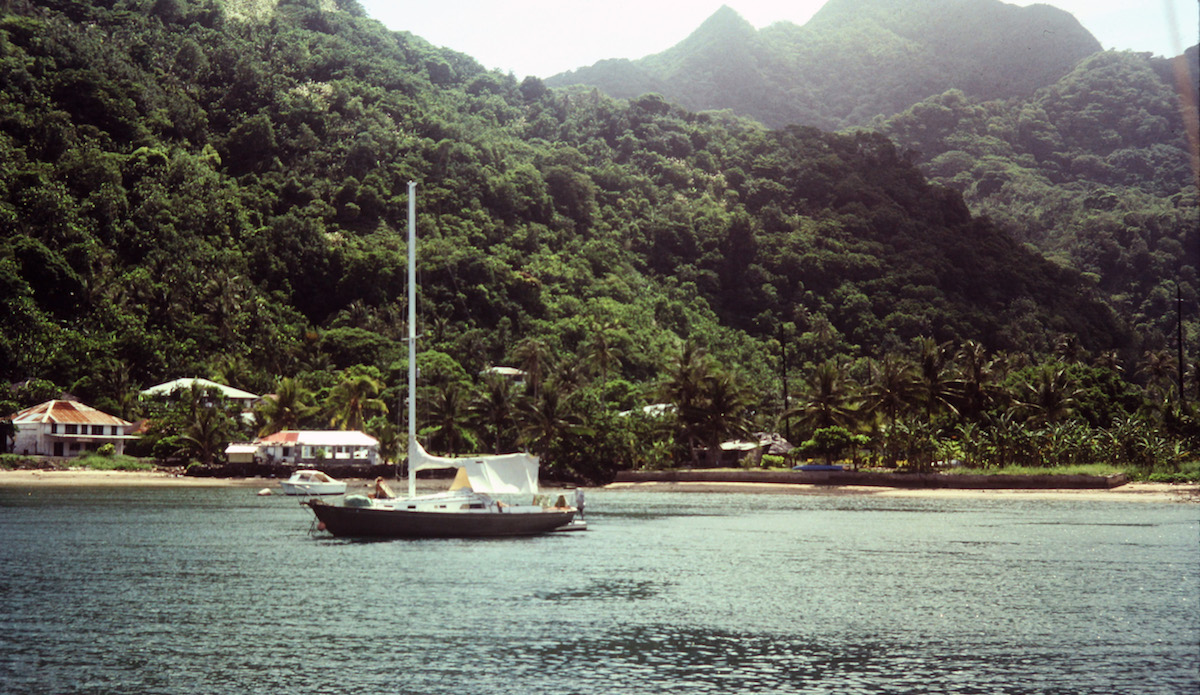 Faga\'alu Bay, Samoa. This was shot from John\'s boat where he paddled in daily to teach class. Photo: John Ritter
