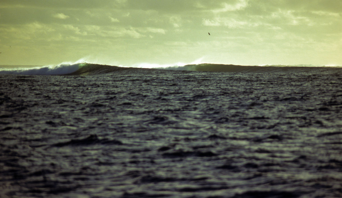 Cloudbreak, shot from John\'s dinghy. (One of the early known photos of the wave). Photo: John Ritter