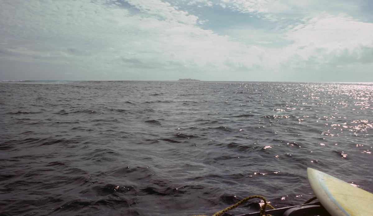 """Cloudbreak w/Bruce Jones 7\'6\"""", shot from dinghy. Photo: John Ritter"""