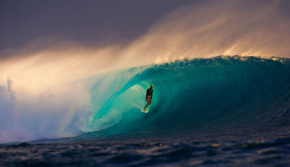"""I had not been to Fiji for many years and this was a pretty different trip as I didn\'t stay in the action packed islands, namely Namotu or Tavarua. Instead, I was on a small, rocky boat stationed near the judging tower at Cloudbreak. We got to see when it turned on out there. This shot is a result of that boat and a little knowledge knowing that late this day would be good. Here, Nat Young, Rookie of the Year stole the wave of the afternoon and gave me one of my favorite photos to date. Photo: <a href=\""""http://www.natesmithphoto.com/\"""" target=\""""_blank\"""" title=\""""Nate Smith Surf Photos\"""">Nate Smith</a>"""