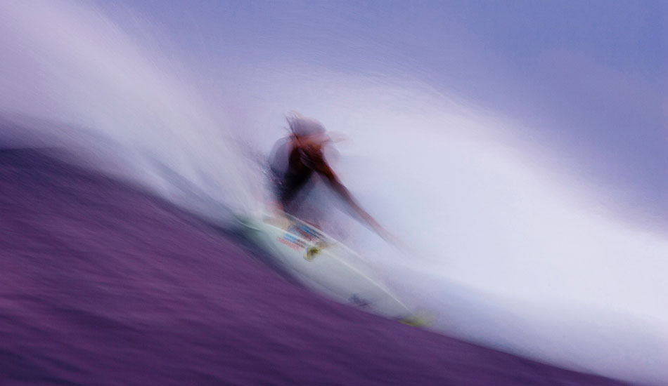 """Luke Stedman is another good mate of mine whom I\'ve shot and spent a fair amount of time with over the years. This was during a Sumatra Boat trip right on dusk. Always love the effects that a slow shutter can give you when you give it a try. Luke\'s not on Tour anymore but is still ripping and has just started his own T Shirt label, which I\'m sure will kill it. It\'s called Instedwesmile. Photo: <a href=\""""http://www.natesmithphoto.com/\"""" target=\""""_blank\"""" title=\""""Nate Smith Surf Photos\"""">Nate Smith</a>"""
