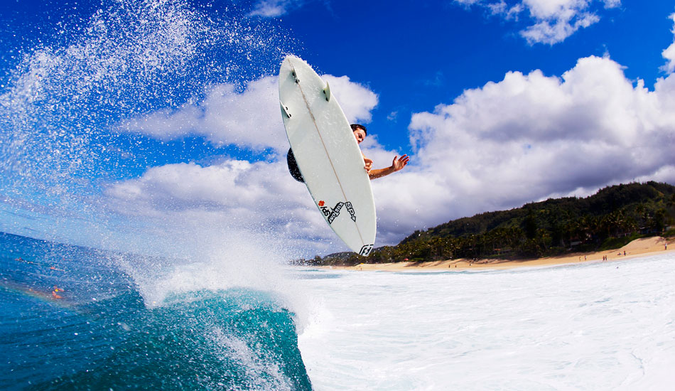"Australian freesurfer Wade Goodall is one freaky bloke. He\'s always pushing the limits when it comes to boosting huge Airs. This one is big, clean and over the shallow rock shelf of OTW Hawaii. Photo: <a href=""http://www.natesmithphoto.com/\"" target=\""_blank\"" title=\""Nate Smith Surf Photos\"">Nate Smith</a>"