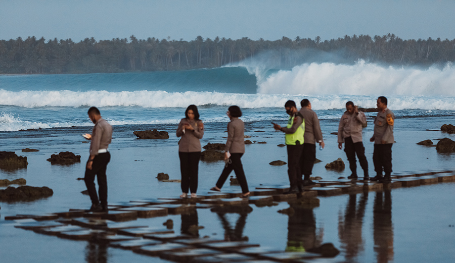 """Finally attracting the attention of the government in 2019 but not its understanding of surfing, officials designated Lagundri Bay a """"tourist recreation area"""" and quickly made plans to to bury the reef under a cement roadway that would destroy the wave. Local protests have slowed the project."""