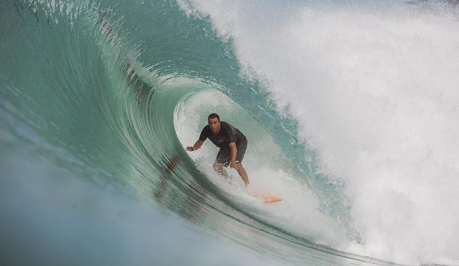 Although the surfing world sees Lagundri Bay only when it's pumping, its exposed location on the southern tip of Nias Island ensures its reputation as one of the most consistent waves in Indonesia. Even on an average day the place can still blow your socks off. Ivan Fominykh, here, having navigated the politics of this local lineup, finds himself in the kind of barrel that drove him here in the first place.