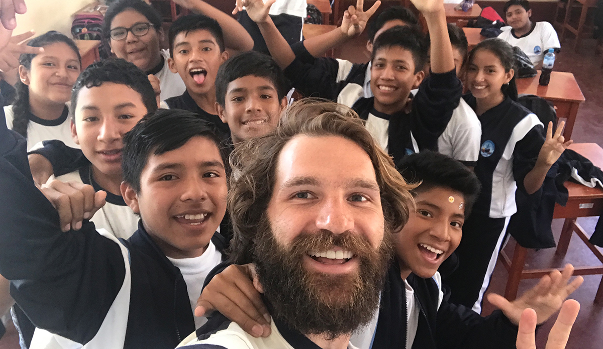 Nick and his new friends take a break from English class for selfie fun! | Photo: Nick Roubal