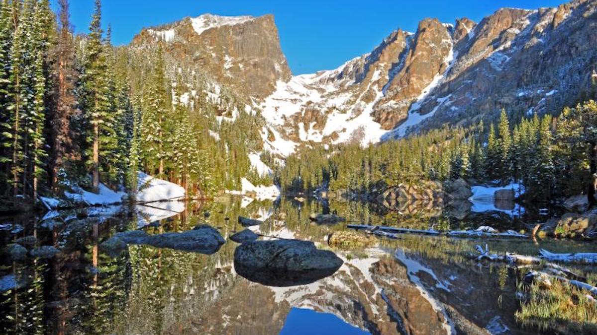 Hallett Peak reflected in Dream Lake. Photo: NPS