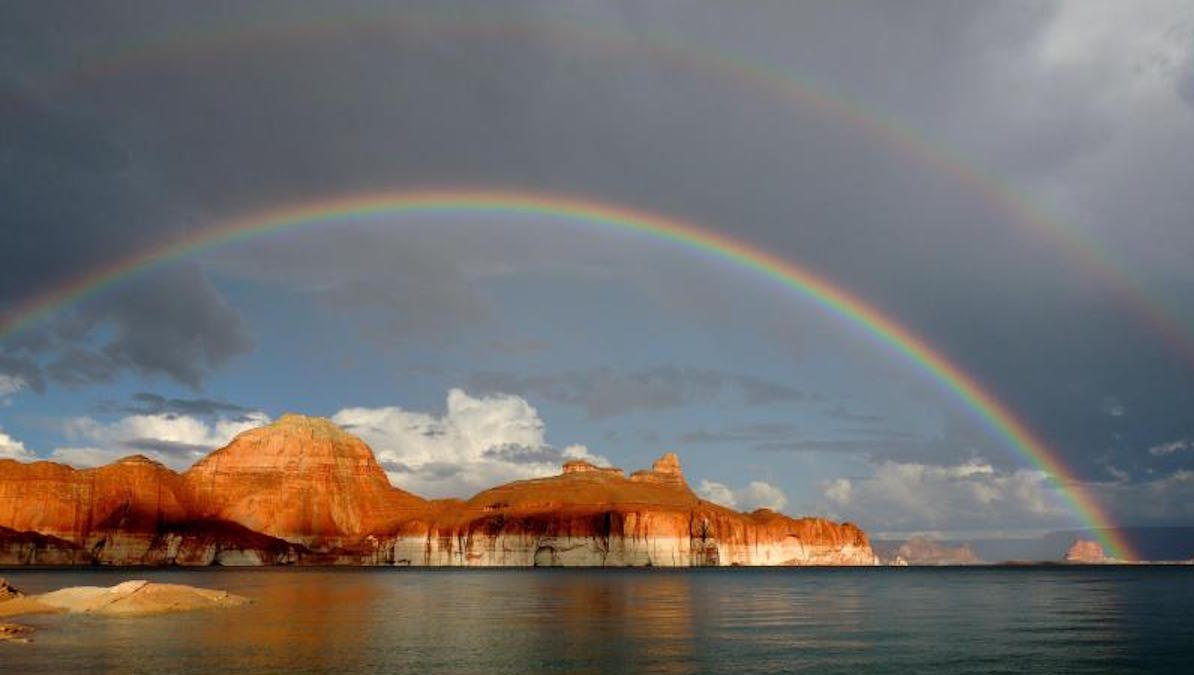Lake Powell double rainbow! Photo: Ross Kantra/NPS