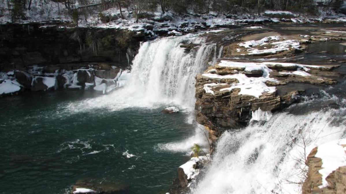 Little River Falls in winter. Photo: NPS