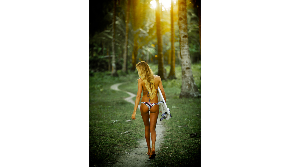 """Yes, I am guilty of snagging a behind shot of a fit looking Alana Blanchard, on a trip to the Philippines. Having spent two weeks with Alana and getting to know her on more of a personal level I really enjoyed her company and how well she surfed. Photo: <a href=\""""http://www.russellord.com\"""" target=\""""_blank\"""">Russell Ord</a>"""