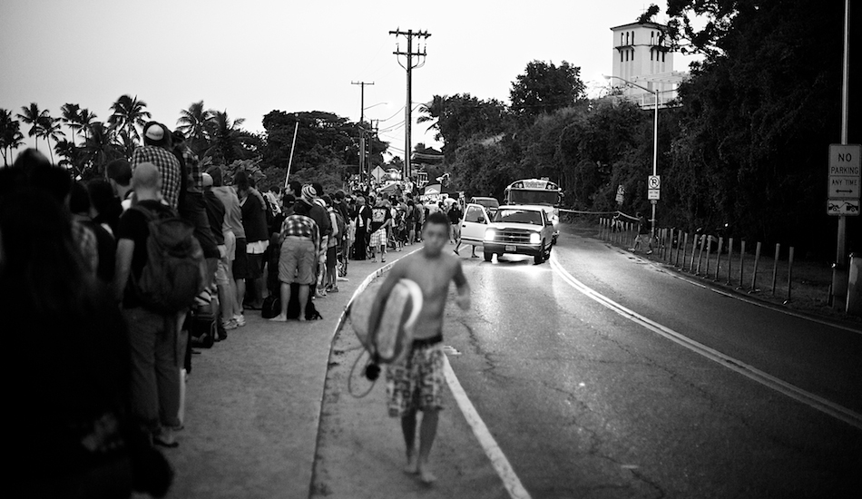 """This is my preparation for The Eddie, as you can see I am shooting the backs of the crowd that line the streets at 4 in the morning. Just another reminder of the serenity of home that I love so much. Photo: <a href=\""""http://www.russellord.com\"""" target=\""""_blank\"""">Russell Ord</a>"""