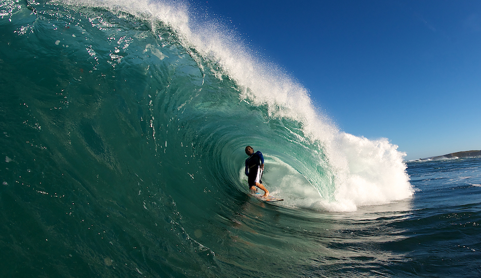 """I made a passing comment to Shaun, jokingly, that if he could look a little more casual when he surfs this heavy reef break. So he gave me this soul arch. Photo: <a href=\""""http://www.russellord.com\"""" target=\""""_blank\"""">Russell Ord</a>"""