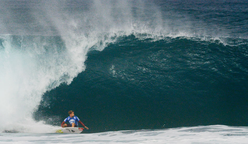 Day 2 shaped up a little better with 8-to-12 foot bombs going off. David Van Zyl at the bottom of one. Photo: Chrisite