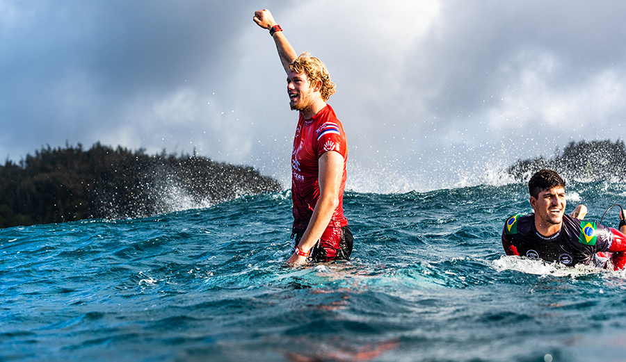 A genuine show of emotion from the two-time champ who may be on his way to a third. Photo: Tony Heff/WSL