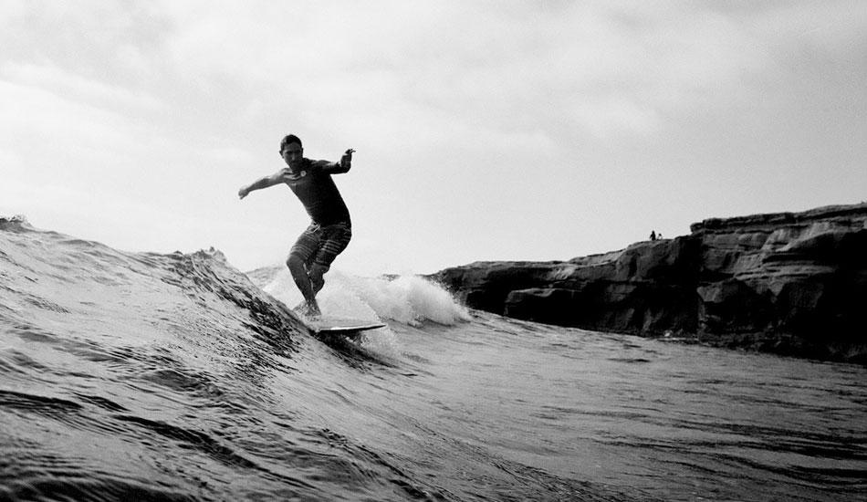 "Garrett Goodwin throwing down some footwork on a board he shaped somewhere in San Diego. nikonos v, kodak tmax 100 film. Taken with a Nikonos V. Photo: <a href=\""http://fotoburns.com\"">Adam Burns</a>"
