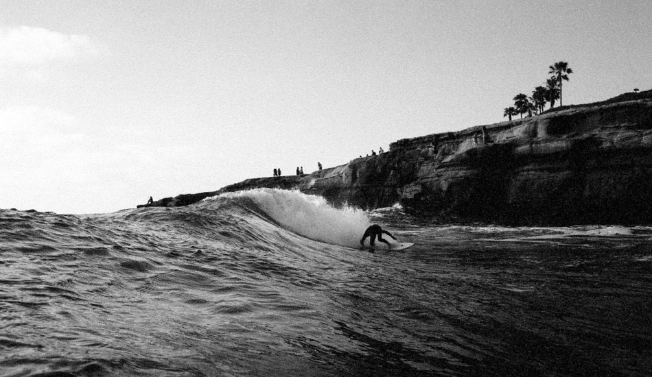 """Cris Loomis is one of the best surfers to come out of the Sunset Cliffs area. The guy has epic style and gets barreled literally every session, even when the waves aren\'t barreling. He\'ll go down as a legend for sure. Here he is on a 5\' 9\"""" Garrett Goodwin shape. Nikonos v, kodak tmax 3200 film. Photo: <a href=\""""http://fotoburns.com\"""">Adam Burns</a>"""