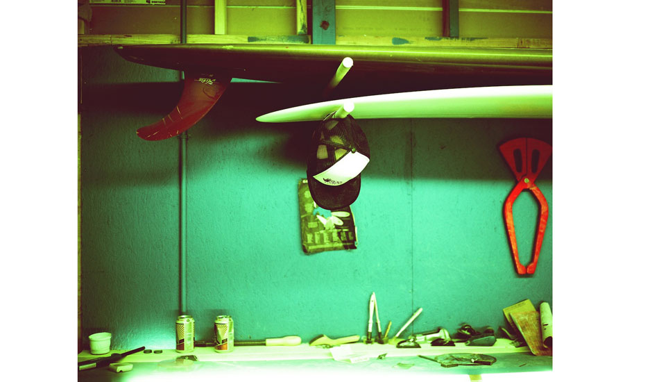 """A few of the local boys have been shaping their asses off lately at this spot, and the sticks are coming out killer. Cooper\'s shaping bay, Soul Patrol headquarters. Fuji GF670, fuji provia 100 film, cross-processed. Photo: <a href=\""""http://fotoburns.com\"""">Adam Burns</a>"""