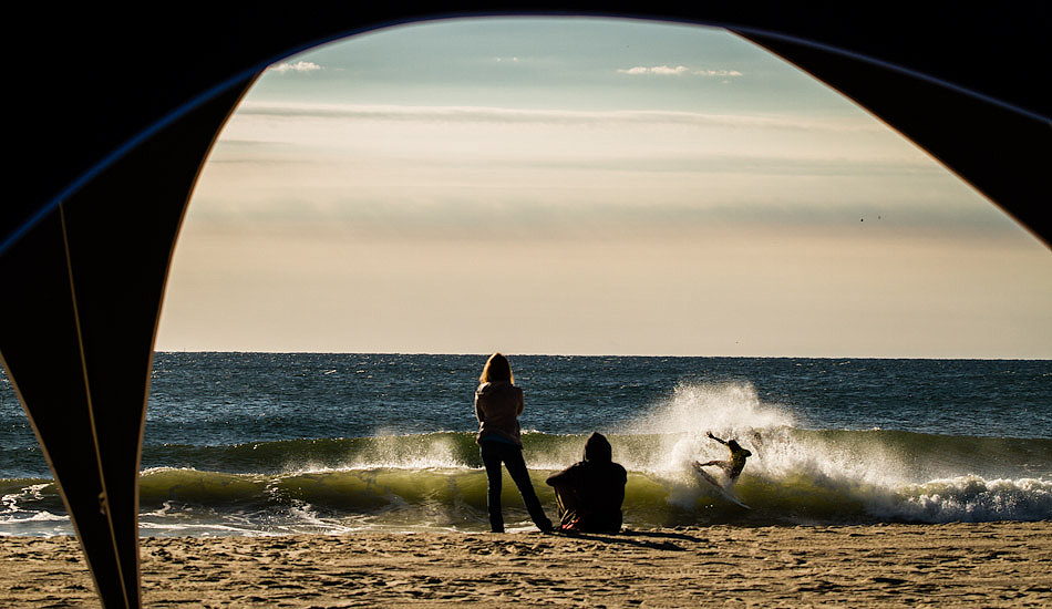 """A surfer snaps a turn during warmups before the 2012 Belmar Pro. Photo: <a href=\""""http://christor.photoshelter.com/\"""" target=_blank>Christor Lukasiewicz</a>"""