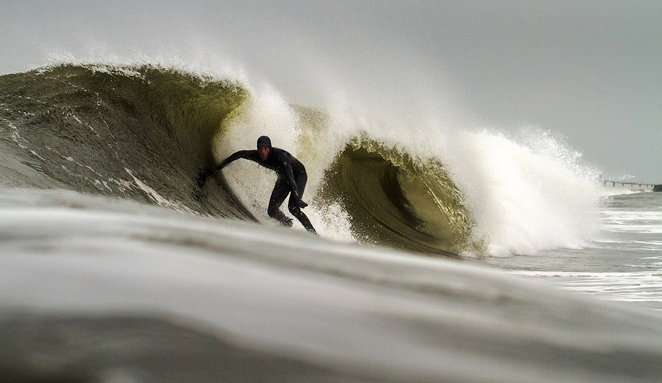 """Shawn Zappo enjoying a late winter swell in NJ. Photo: <a href=\""""http://christor.photoshelter.com/\"""" target=_blank>Christor Lukasiewicz</a>"""