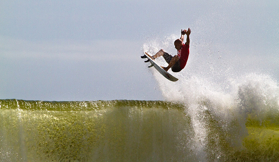 """Kelly Slater pulling a huge air during the Quiksilver Pro New York. Photo: <a href=\""""http://christor.photoshelter.com/\"""" target=_blank>Christor Lukasiewicz</a>"""