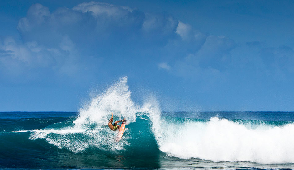 """Flynn Novak is one of the most underrated surfers in the game today. He has the entire package: barrels, airs, power and a great attitude. This turn blew me away and the fact that he rode out of it was even more impressive. How's that buried nose? Photo: <a href=\""""http://markmcinnis.com/\"""">Mark McInnis</a>"""