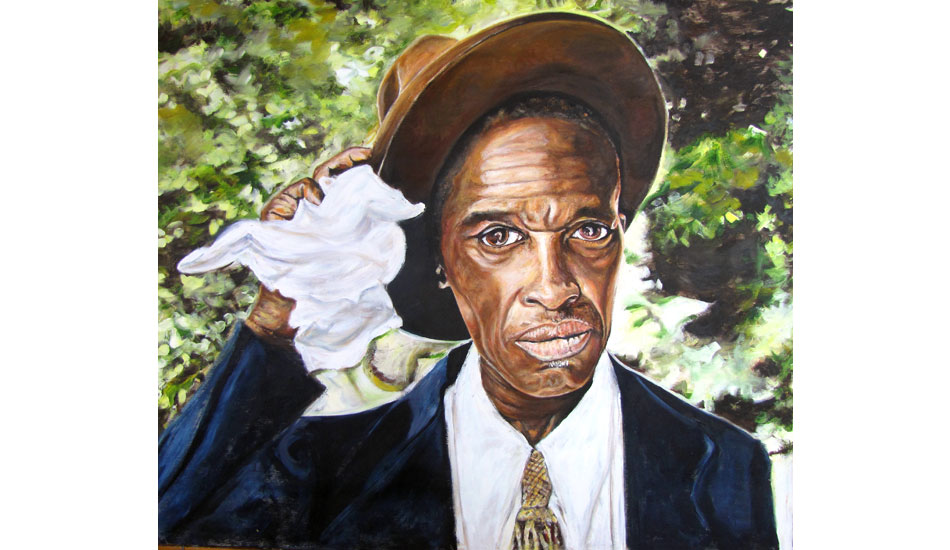 <b>Skip James. Oil on wood.</b> Skip is an amazing blues man. This is based on a black and white photo of him just after he came off stage at the Newport Blues Festival in the late \'50s. He was one of the bluesmen responsible for the blues revival that influenced many of the 60s rock bands.