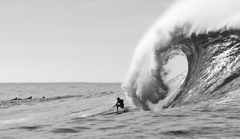 "Tyler Fox staying ahead of the lip at Mavericks. Photo: <a href=""http://instagram.com/migdailphoto\""> Seth Migdail</a>"