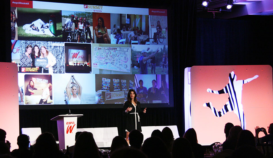 """2.Gentil speech: VP of espnW, Laura Gentile, opened the Summit with encouraging words about the importance of mentorship. Photo: <a href=\""""http://www.thesurfchannel.com\"""">Surf Channel</a> 