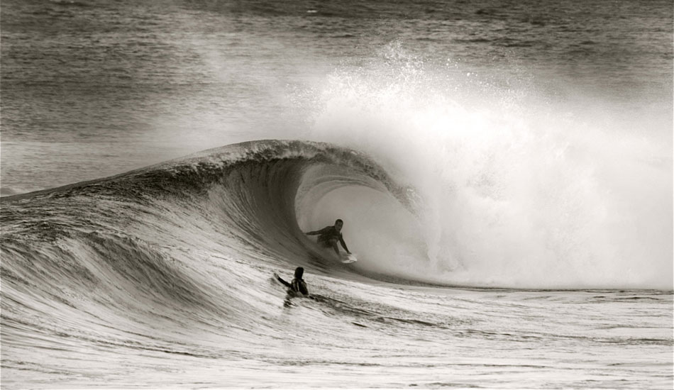 This guy got barreled forever on this wave. It was actually one of those sequences that was so good I had a hard time choosing which frame I like best.  Unknown foamball rider, Backdoor Pipeline. Photo: Robb Wilson