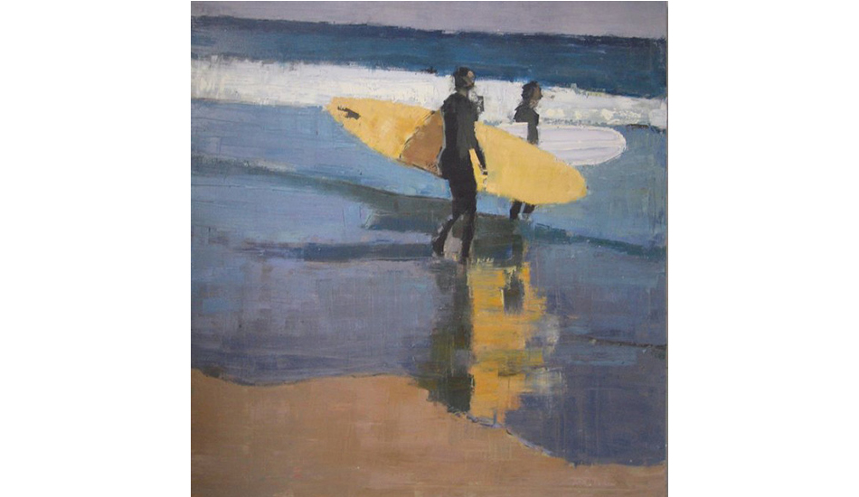 Two boards heading to water by Lynn Grayson.