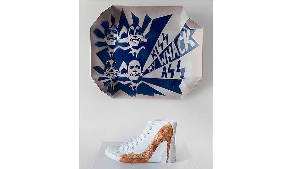 Hand-painted big city sneakers, 2012. Be & D collaboration with Trong Gia Nguyen. With 24 Karat gold leaf paint. Special convertible shoe box turns into picket sign.
