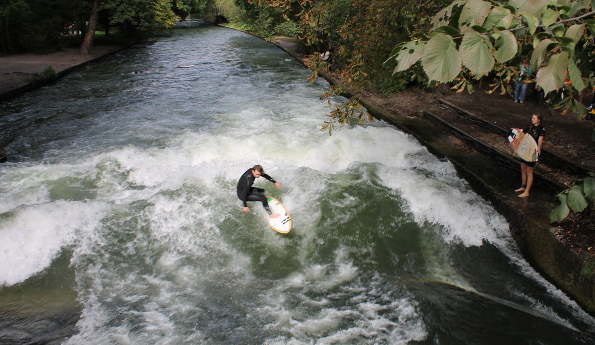 "The famous Eisbach river wave. This was a lot harder than I thought it would be. Also didn't help the European river surfing champion was there.  Photo: <a href=""http://www.ryanwattersphoto.com/\"">Ryan Watters</a>"