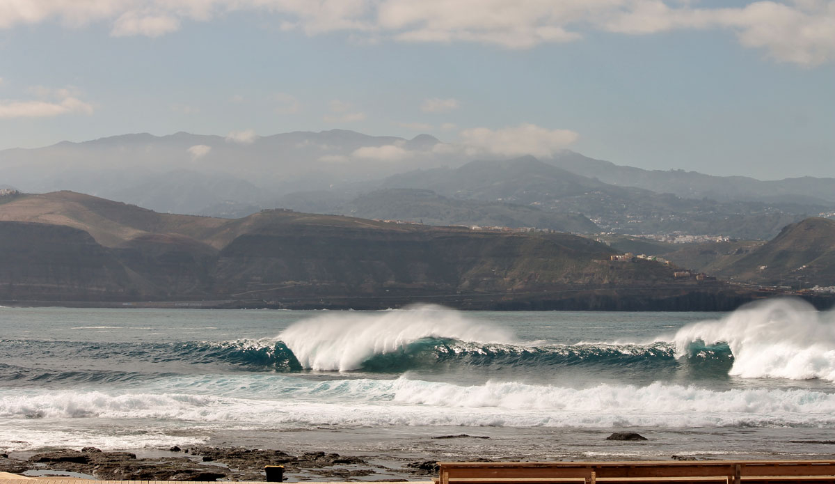 "When conditions come together, this wave is known as one of the best right hand barrels in Europe. No takers on this extremely shallow and windy day in the Canaries. Photo: <a href=""http://www.ryanwattersphoto.com/\"">Ryan Watters</a>"