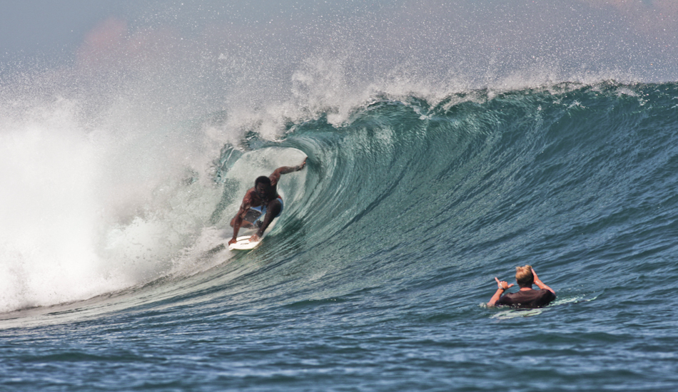 """Isei Tokovu, one of Fiji's stand out surfers, shares a moment at Cloudbreak with long time friend, John Maher. Photo: Brody/<a href=\""""http://www.surfresource.org/\"""" target=_blank>SurfResource.org</a>"""