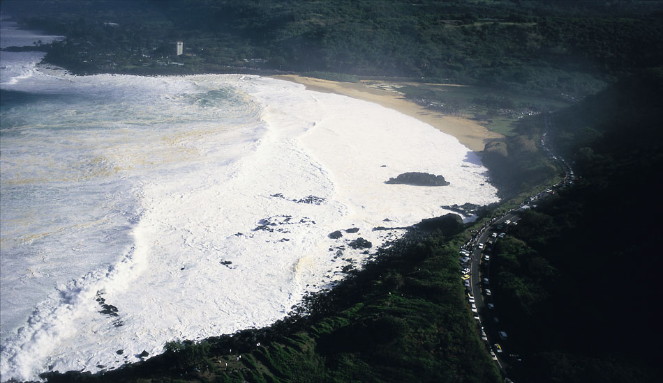"""This was Condition Black at Waimea Bay on Jan 28th 1998. This is the only time I have seen the entire Bay area covered completely in foam. Photo: <a href=\""""http://seandavey.com/wordpress/\"""" target=_blank>Sean Davey</a>"""