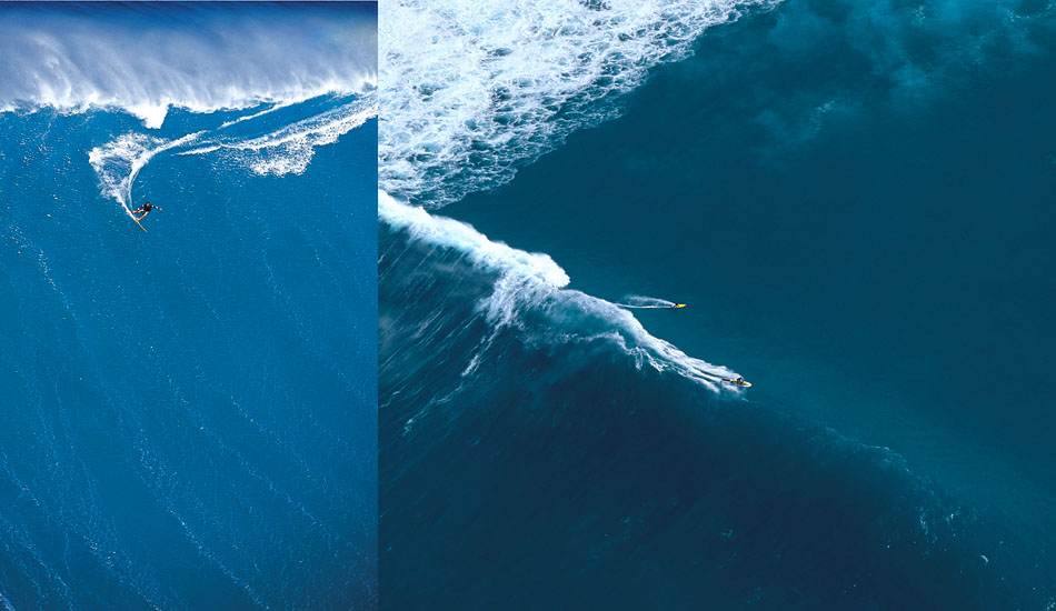 """Left: Darrick Doener doing a massive power carve aat Outside Sunset. Right:             I think this is Makua And Myles at Outside Sunset.  I found out later they both had to swim in. Photo: <a href=\""""http://seandavey.com/wordpress/\"""" target=_blank>Sean Davey</a>"""