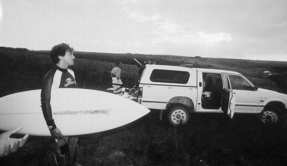 """This is Eddie Vedder preparing to go for a surf on King Island back in 2001.  The 4WD\'s made it easy to get him to some more of the out of the way locations. Photo: <a href=\""""http://seandavey.com/\"""" target=_blank>Sean Davey</a>"""