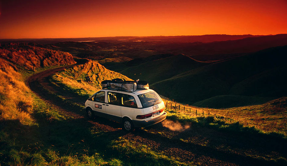 """This was super early one morning in the hills behind Raglan, in New Zealand. That Toyota Tarago proved to be a most worthy traveling companion on this trip. Photo: <a href=\""""http://seandavey.com/\"""" target=_blank>Sean Davey</a>"""